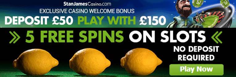 Stan james casino 5 free spins